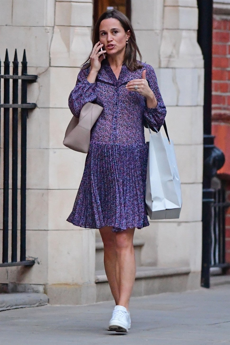 Pippa Middleton in printed dress and sneakers