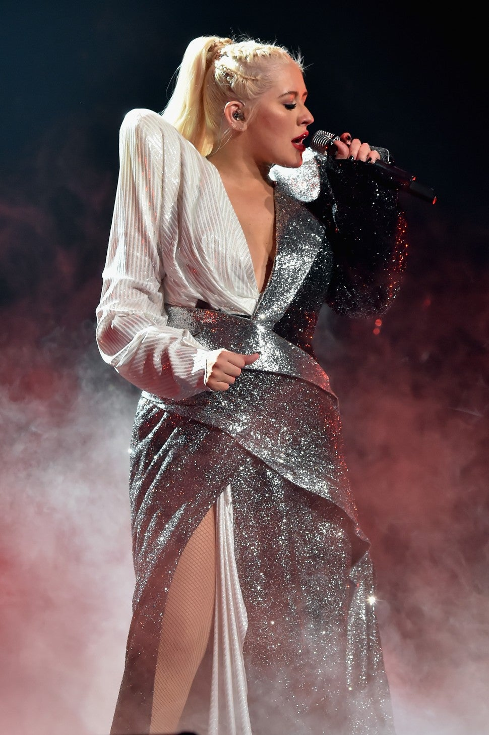 Christina Aguilera tour silver dress