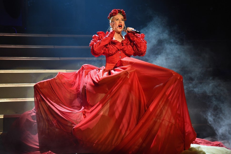 Christina Aguilera tour red dress