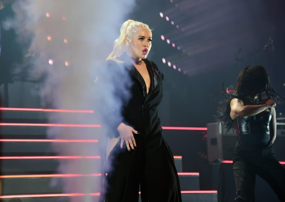 Christina Aguilera tour black suit