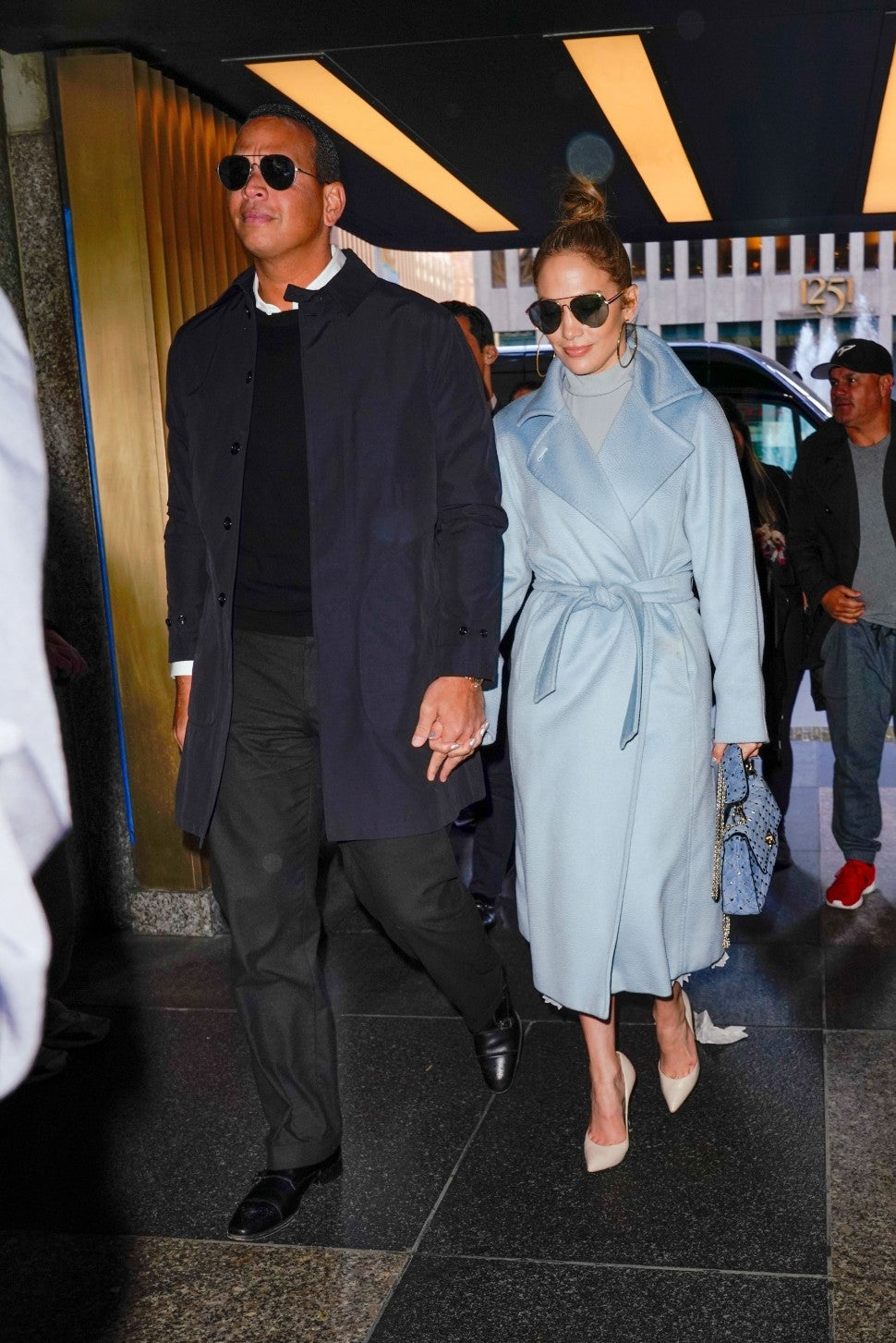 Jennifer Lopez in blue coat