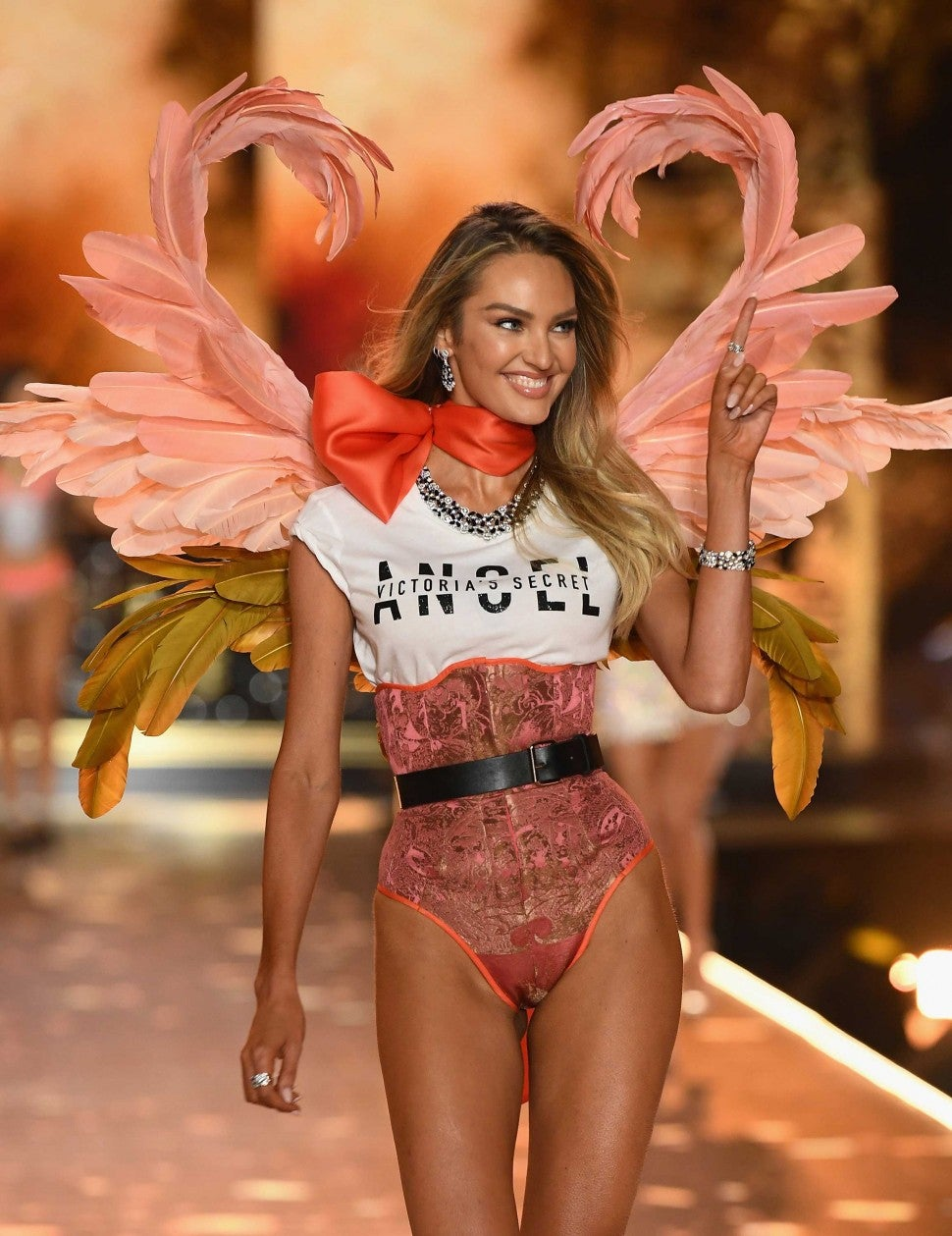 Candice Swanepoel walks the runway at the 2018 Victoria's Secret Fashion Show in New York on Nov. 8
