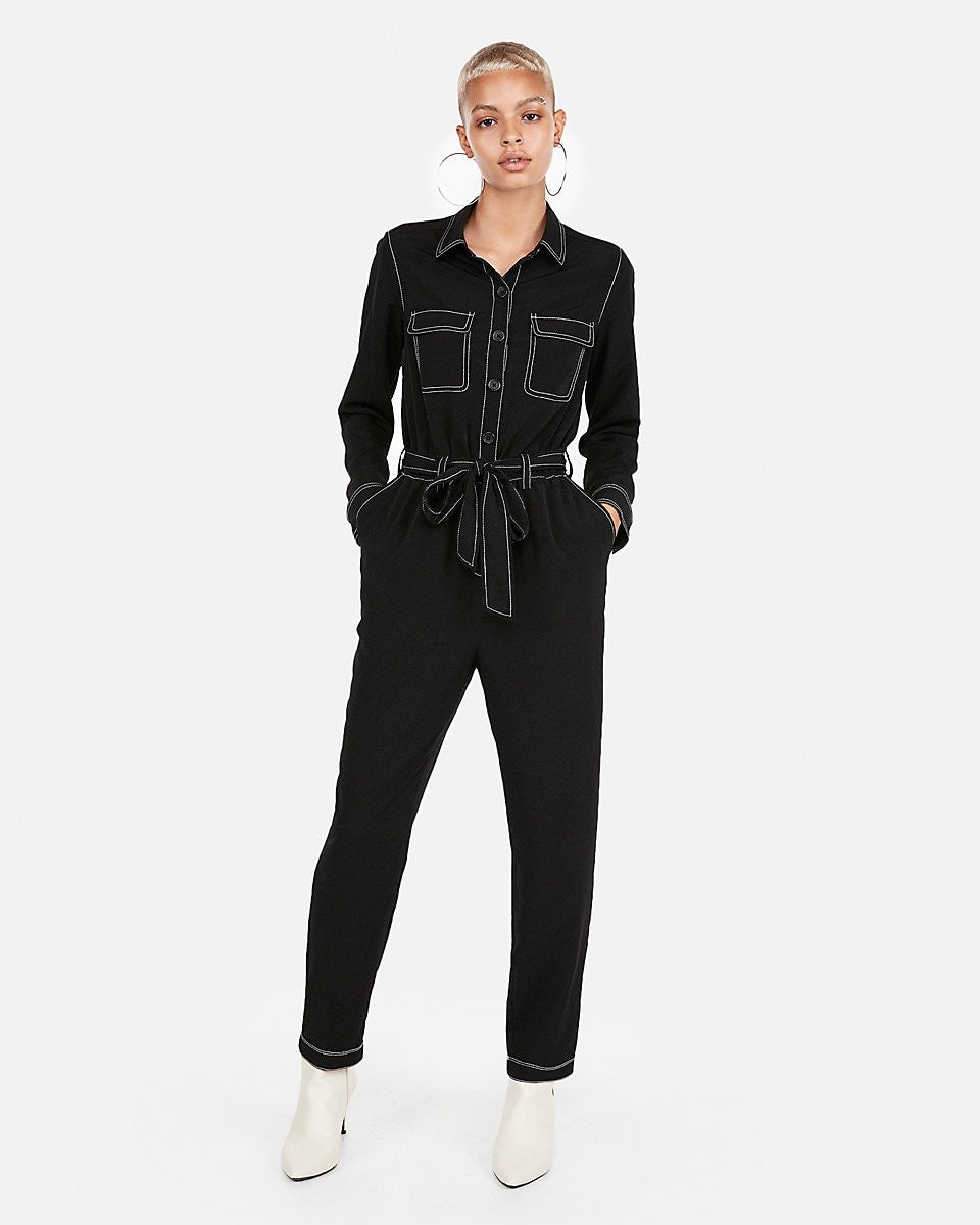 Express contrast stitch jumpsuit
