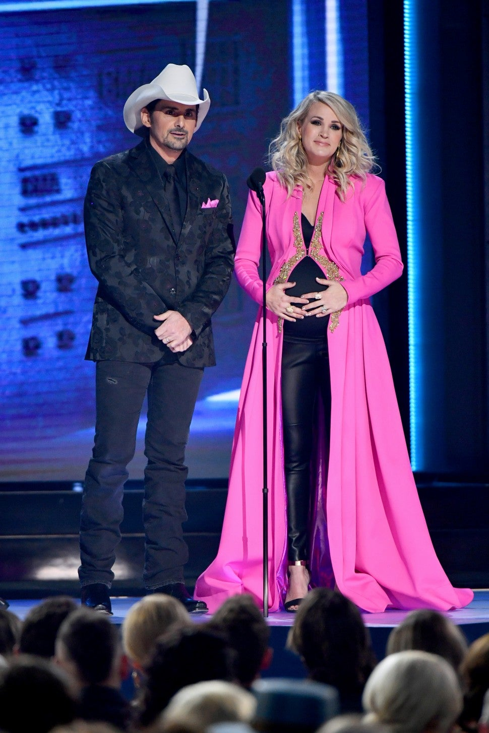 Carrie Underwood in pink robe CMA Awards show