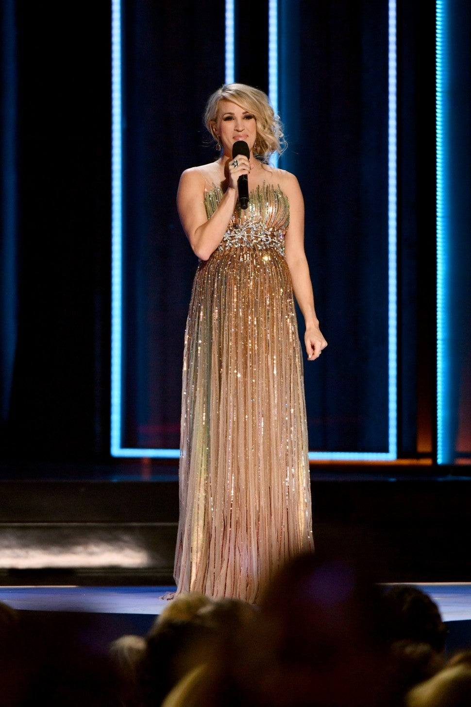 Carrie Underwood gold dress CMA Awards