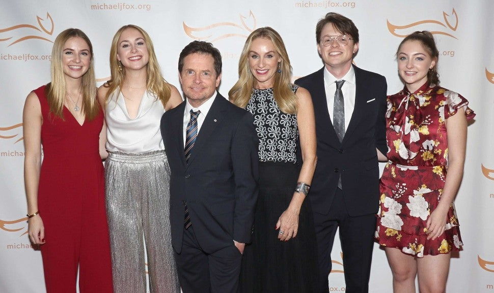 Michael J. Fox and Tracy Pollan with their kids at A Funny Thing Happened on the Way to Cure Parkinson's gala on Nov. 10