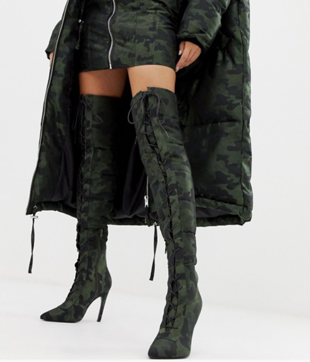 LaQuan Smith x ASOS camo boots