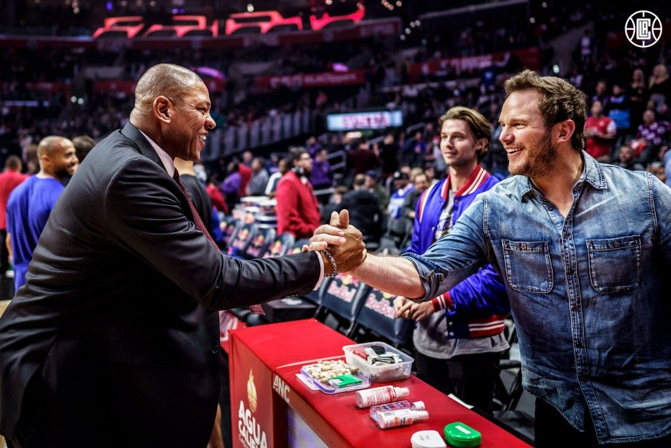 Doc Rivers, Patrick Schwarzenegger and Chris Pratt