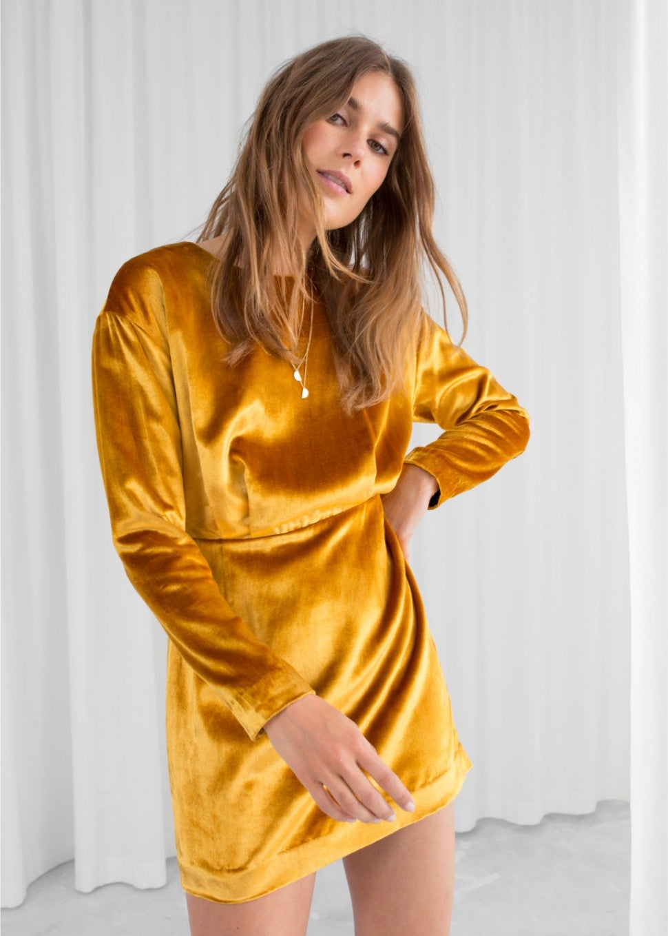 & Other Stories yellow velvet dress