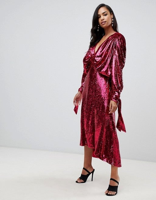 ASOS red sequin dress