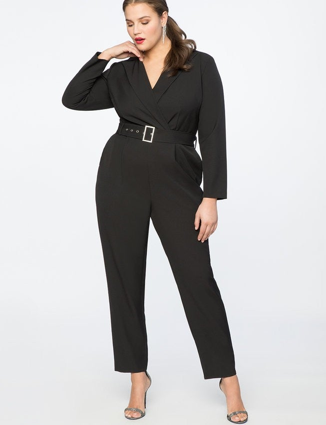 Eloquii black jumpsuit with rhinestone belt