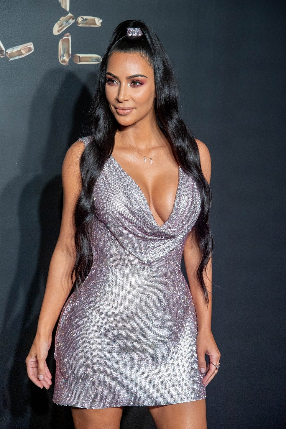 Kim Kardashian in sparkly silver dress