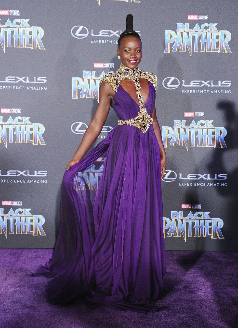 Lupita Nyong'o at Black Panther premiere