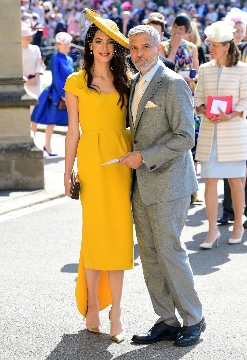 Amal Clooney in yellow dress at royal wedding