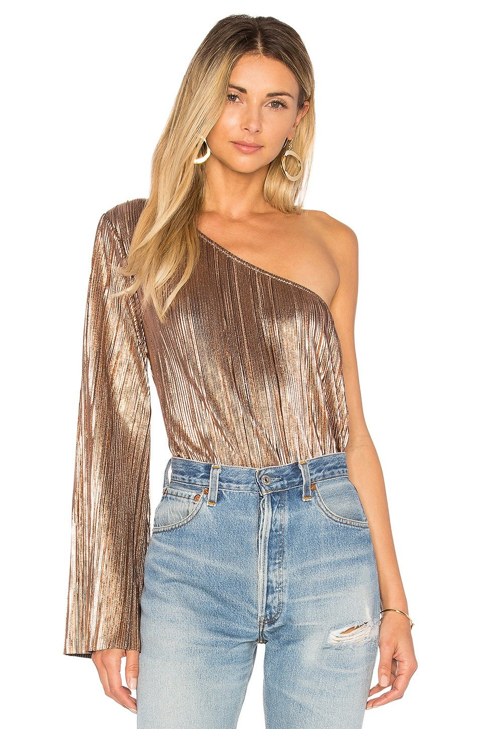 House of Harlow gold one shoulder bodysuit