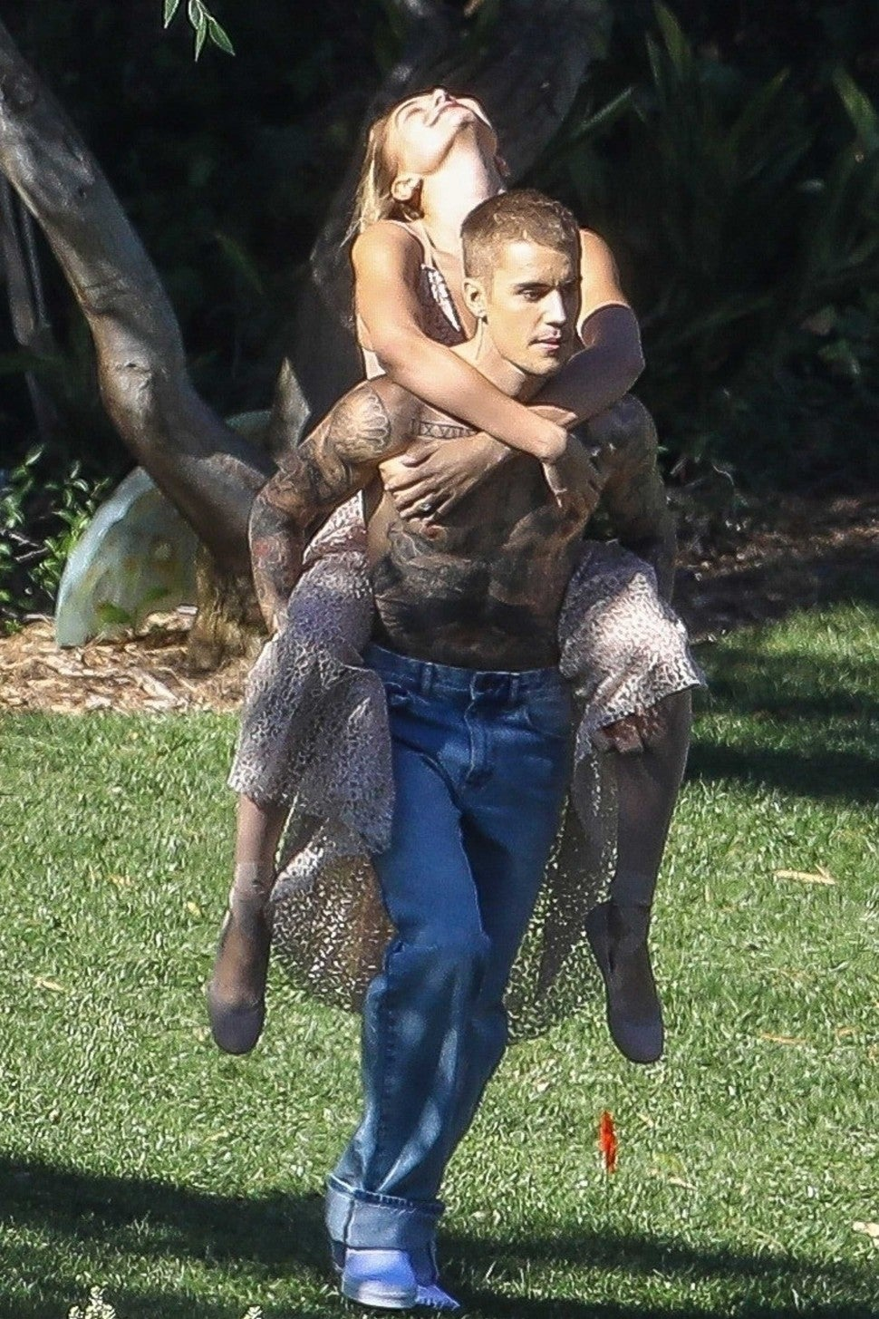 Justin Bieber and wife Hailey Baldwin pose for a photoshoot in the Hollywood Hills on Dec. 4