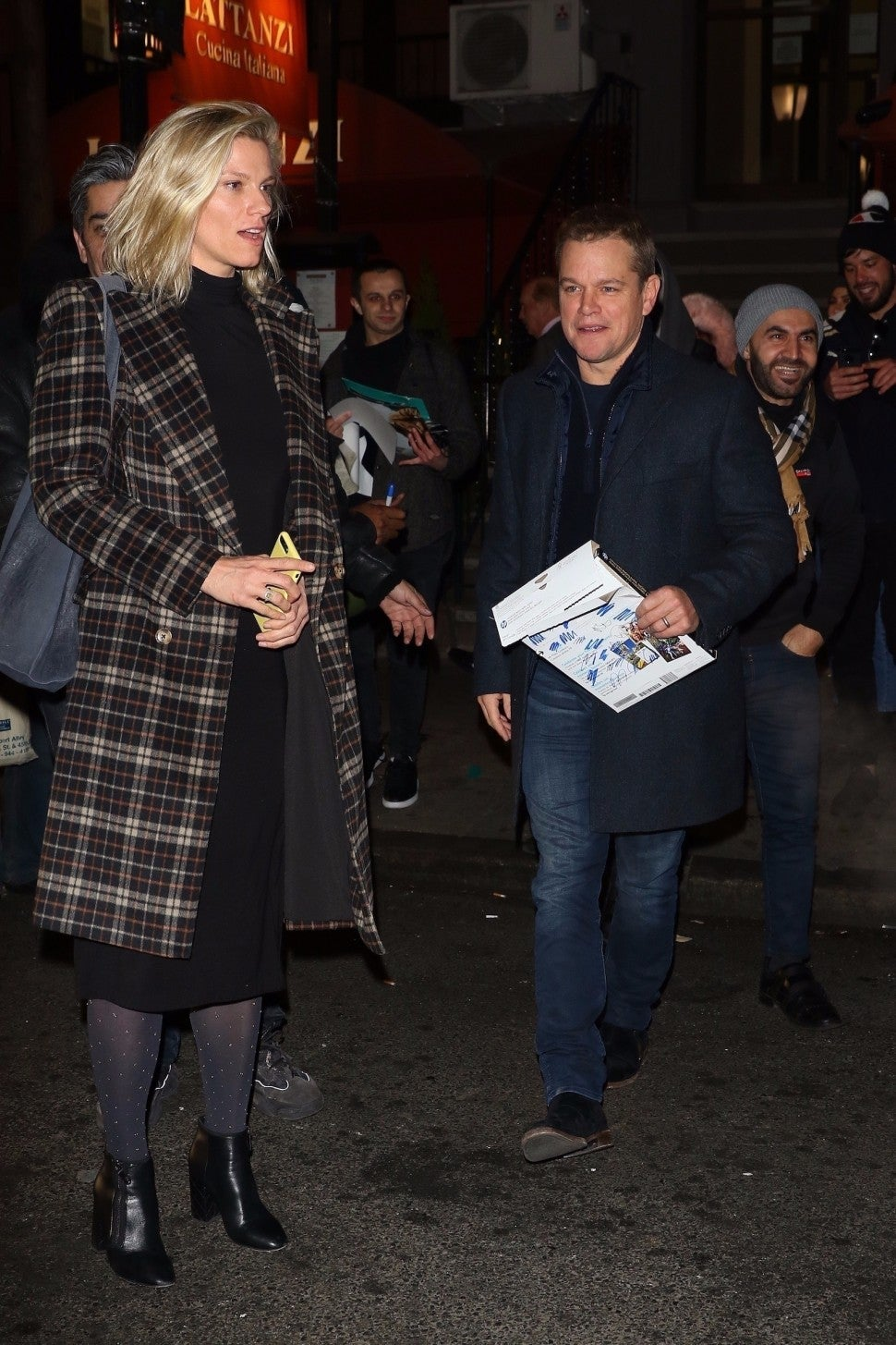 Matt Damon was spotted with Ben Affleck's ex, Saturday Night Live producer Lindsay Shookus, as they leave a SNL power dinner at Lattanzi Restaurant in New York.