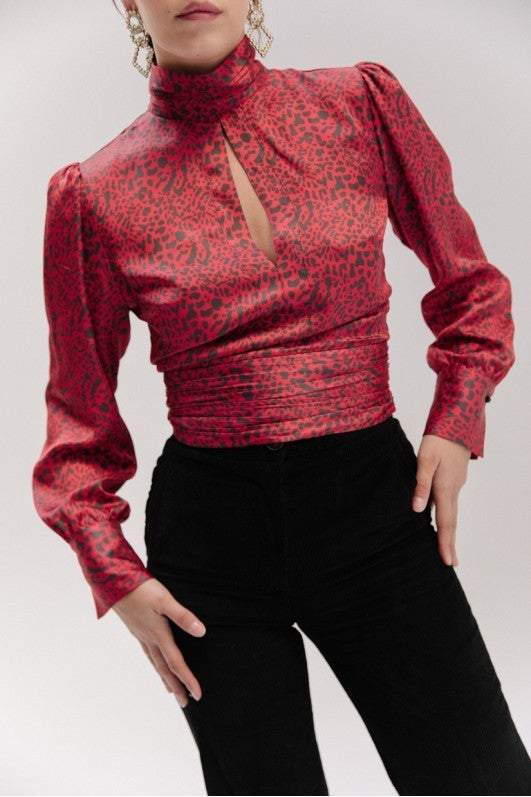 Musier red leopard print blouse
