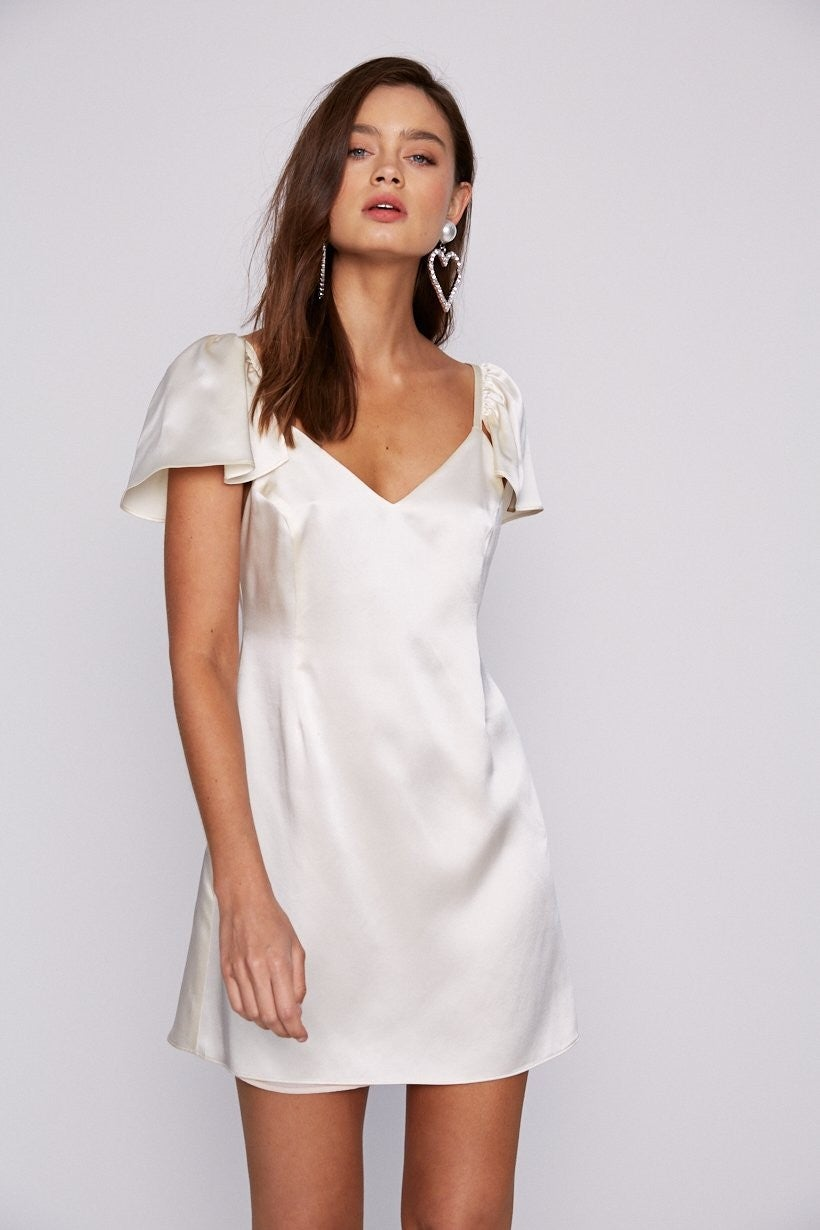 Stone Cold Fox white silk dress