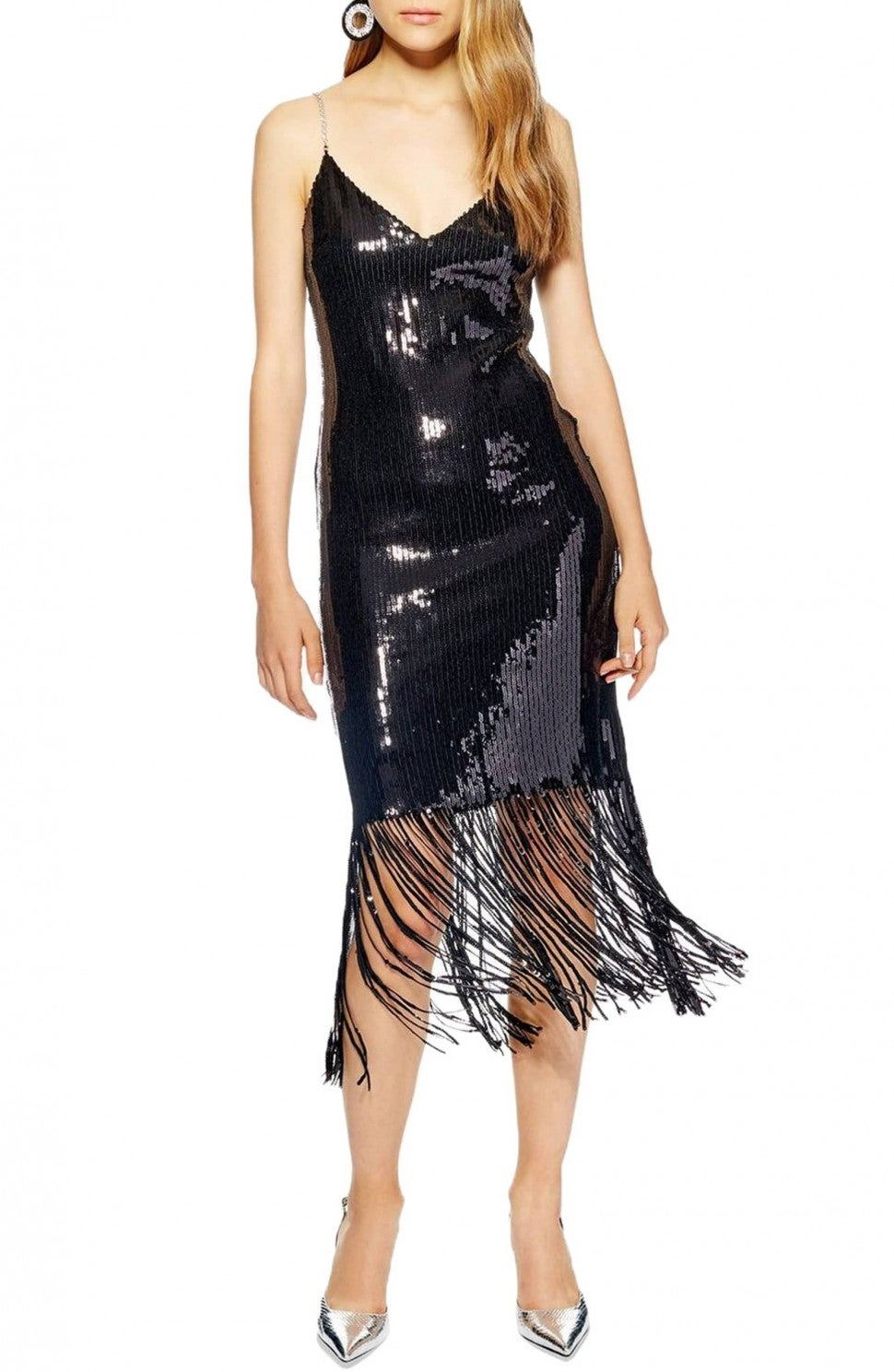 Topshop sequin fringe dress