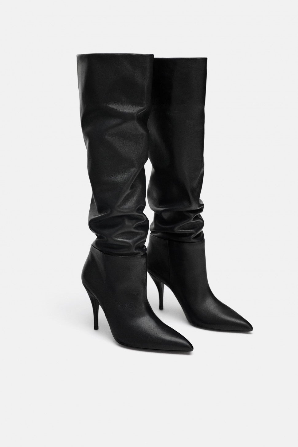 Zara leather slouchy boots