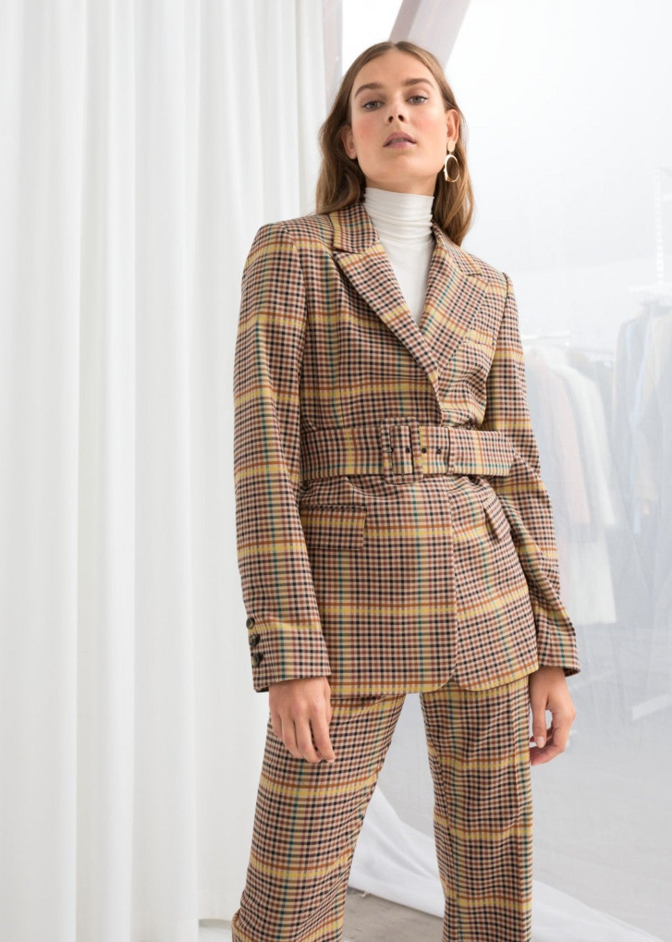 & Other Stories belted plaid blazer