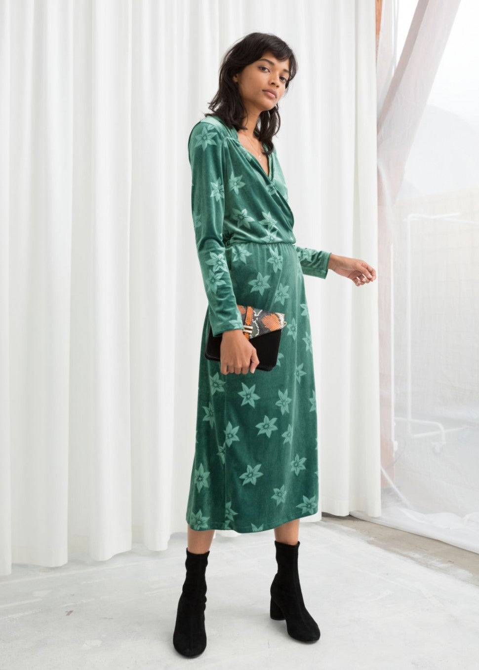 & Other Stories green velour dress