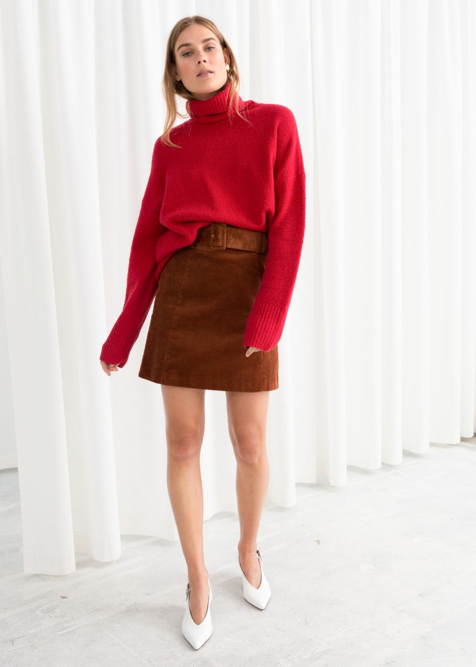 & Other Stories red turtleneck sweater