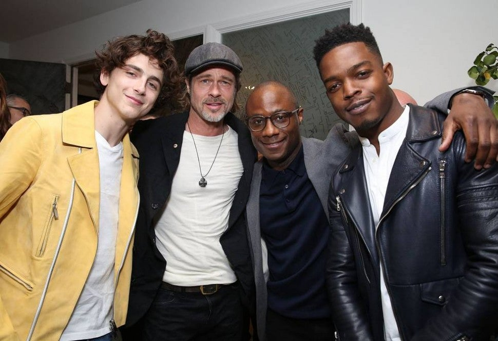 Timothee Chalamet, Brad Pitt, Barry Jenkins and Stephan James