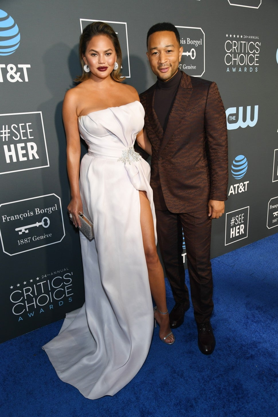 Chrissy Teigen and John Legend attend the 24th annual Critics' Choice Awards at Barker Hangar on January 13, 2019 in Santa Monica, California.