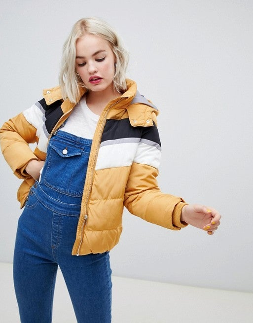 New Look colorblock puffer jacket