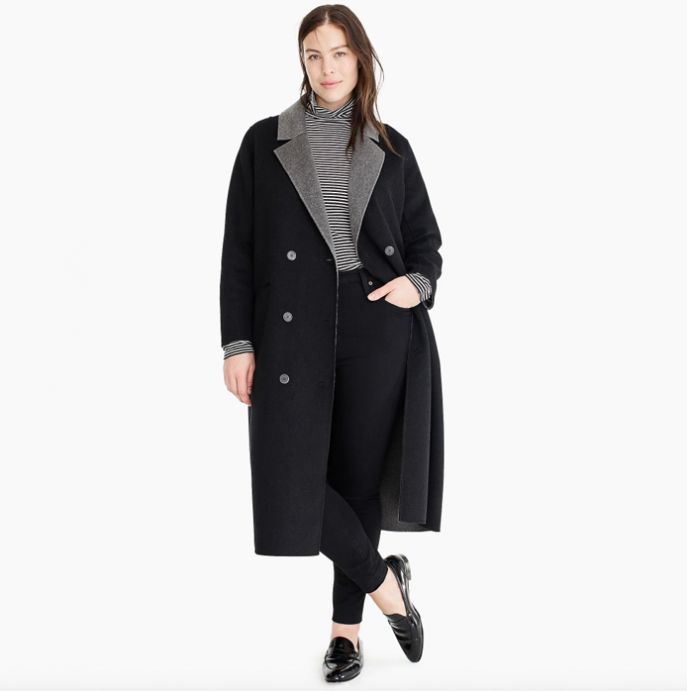 J.Crew x Universal Standard double-faced coat