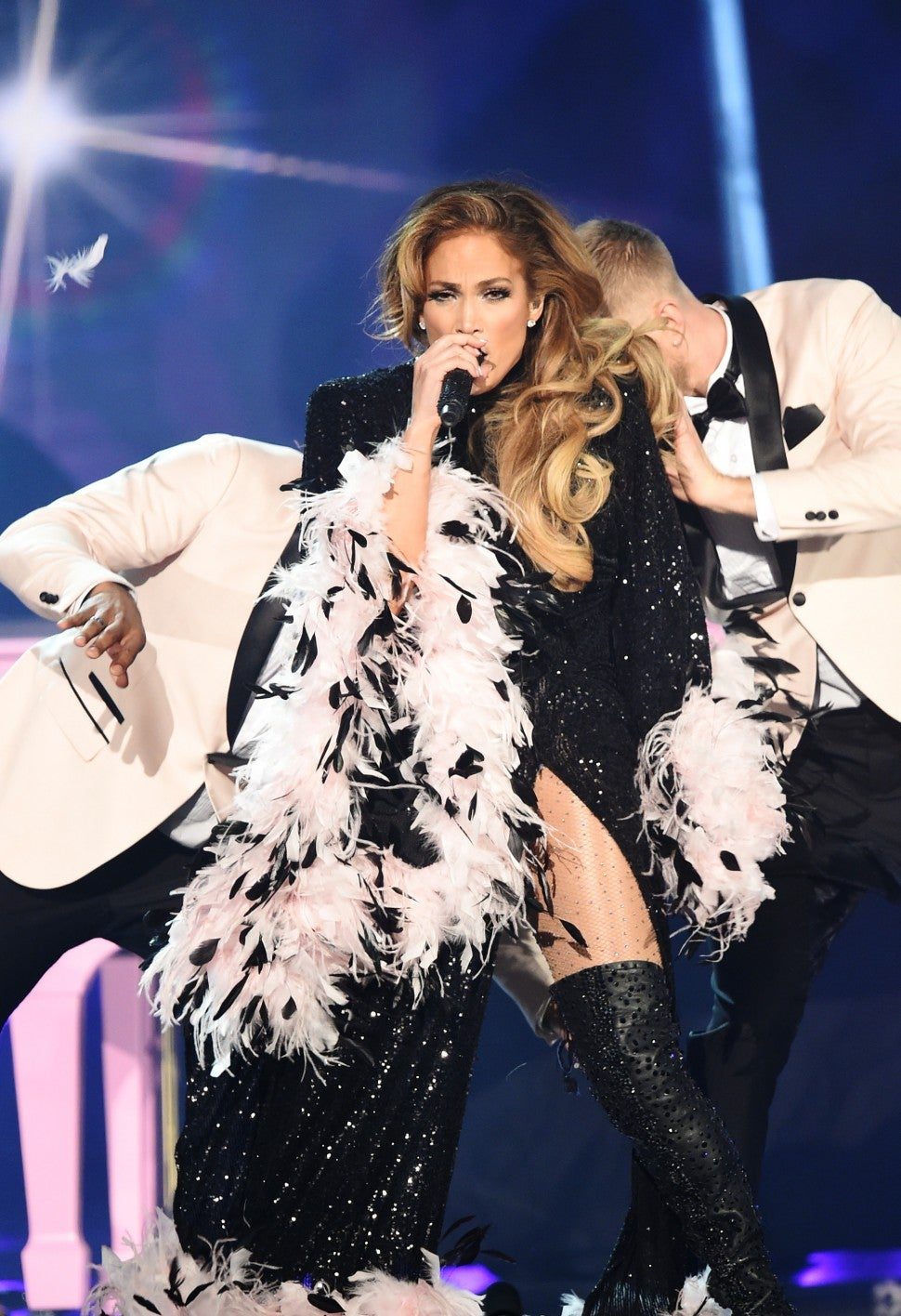 Jennifer Lopez in feather cape at Grammys