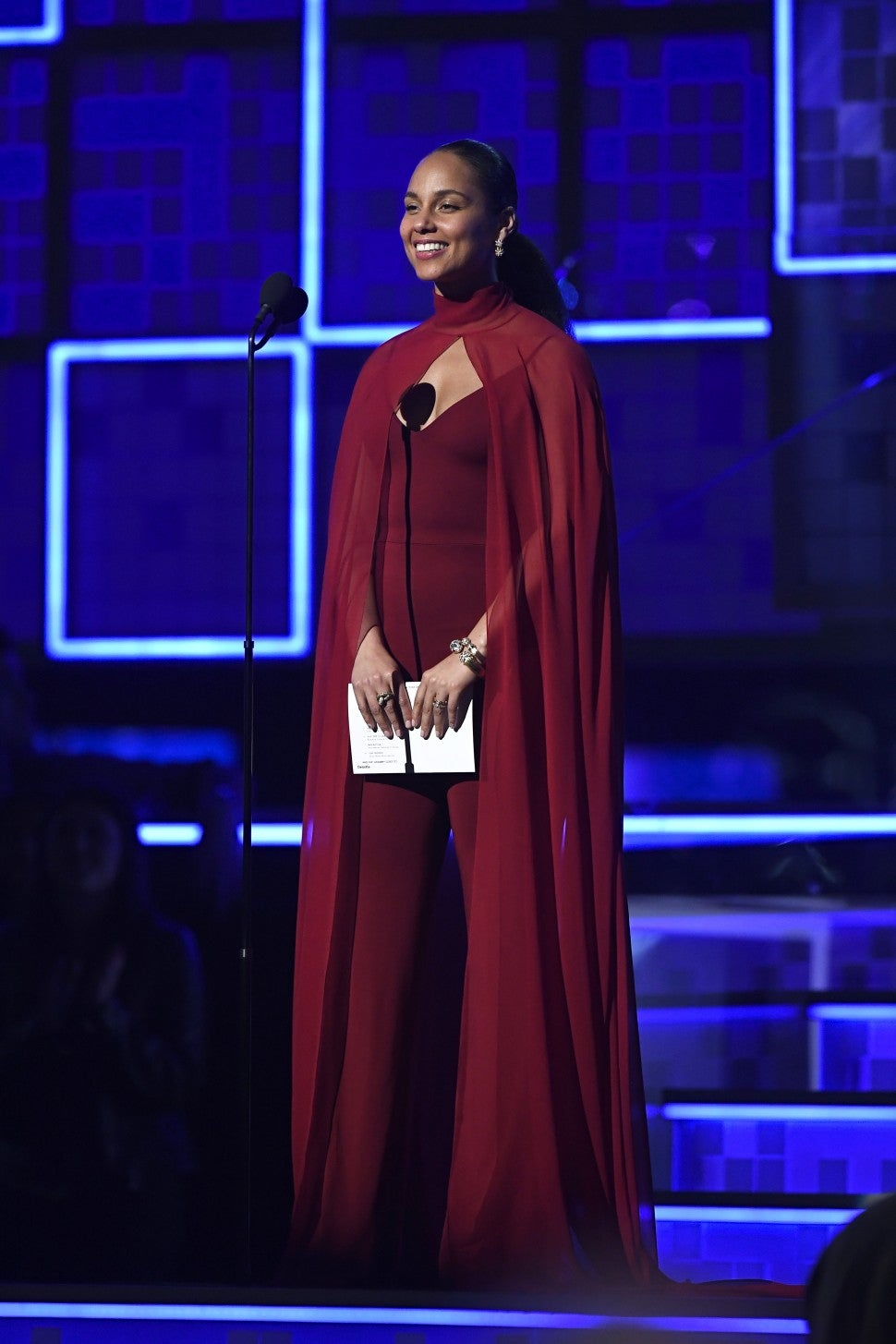 Alicia Keys red cape dress at Grammys