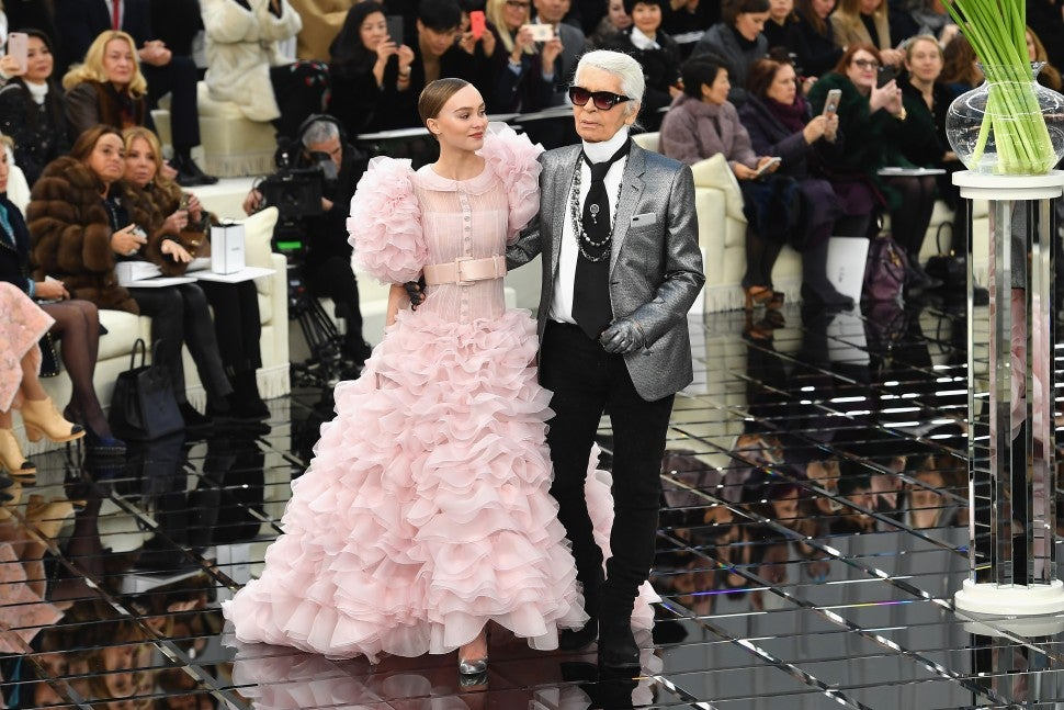 Lily-Rose Depp in pink wedding dress with Karl Lagerfeld