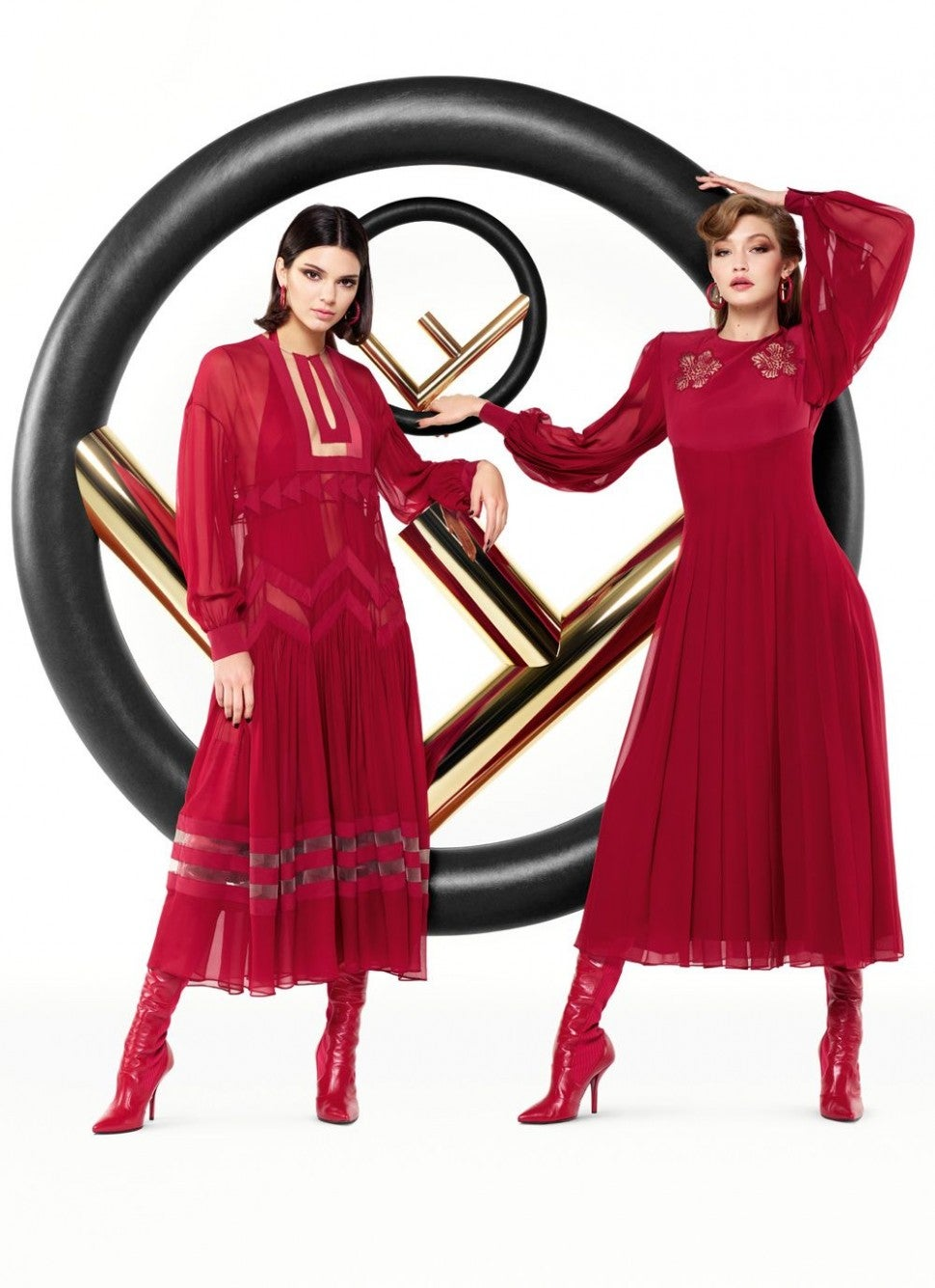 Kendall Jenner and Gigi Hadid in Fendi campaign