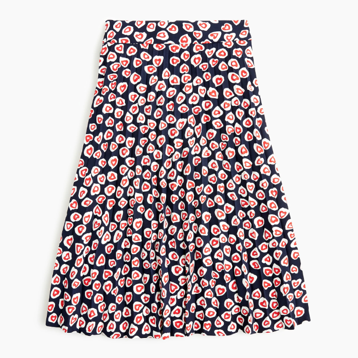 J.Crew heart print pleated skirt
