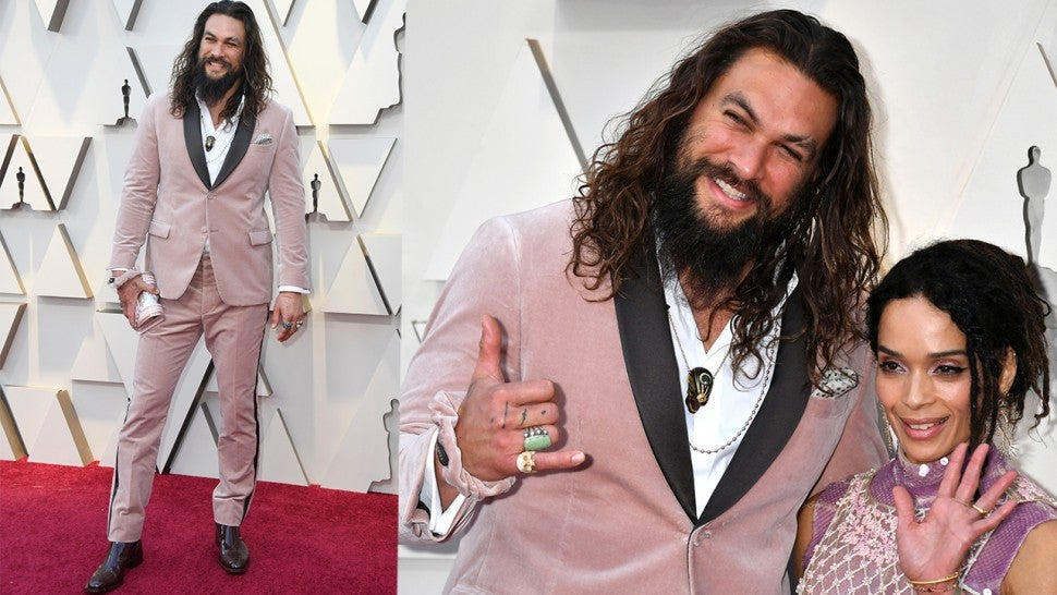 Jason Momoa scrunchie 2019 Oscars red carpet