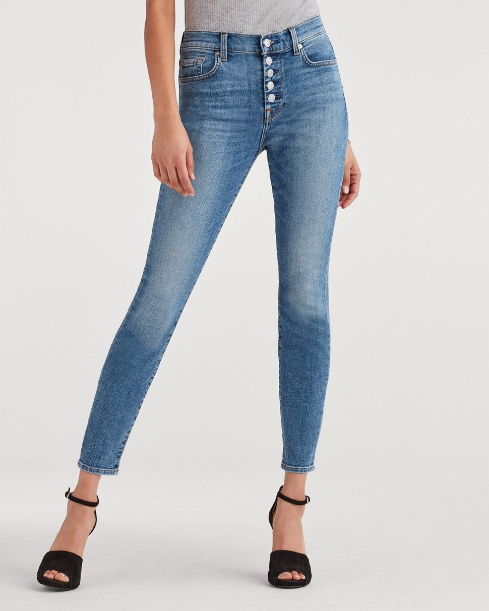 7 For All Mankind exposed button skinny jean
