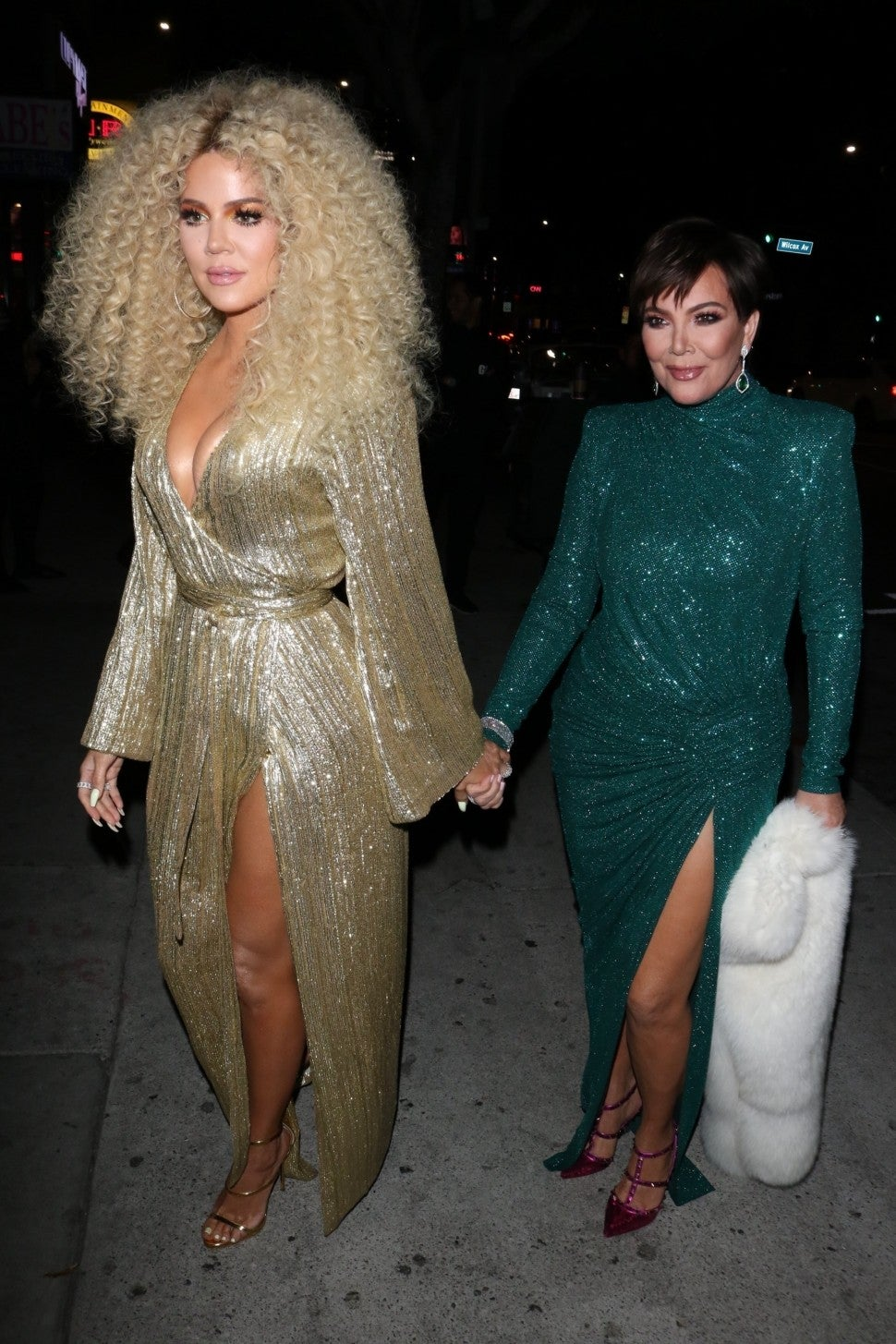 Khloe Kardashian and Kris Jenner arrive at diana ross' 75th birthday