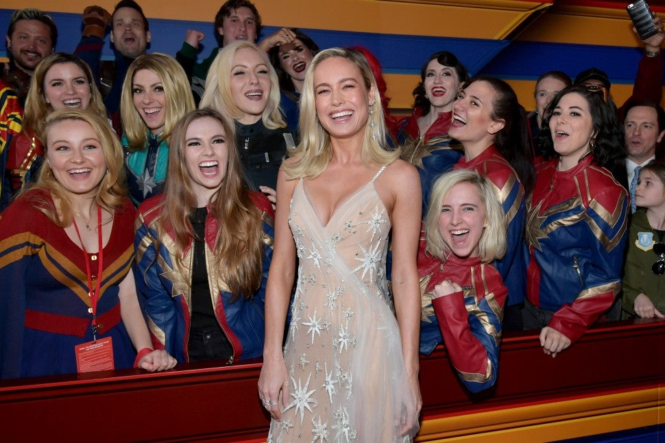 Brie Larson and captain marvels at Captain Marvel premiere in hollywood