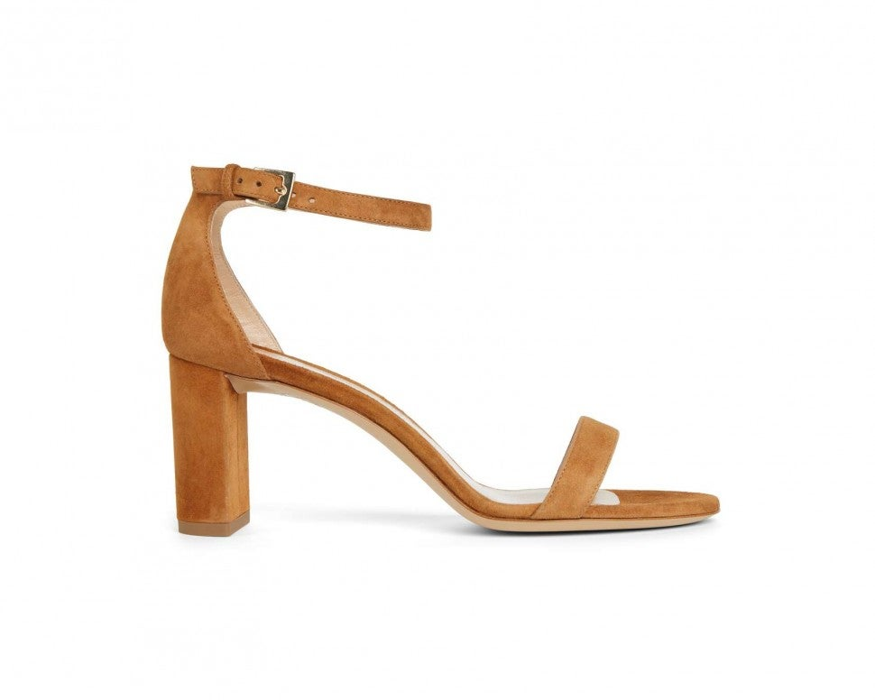Draper James x M.Gemi brown suede ankle strap sandal