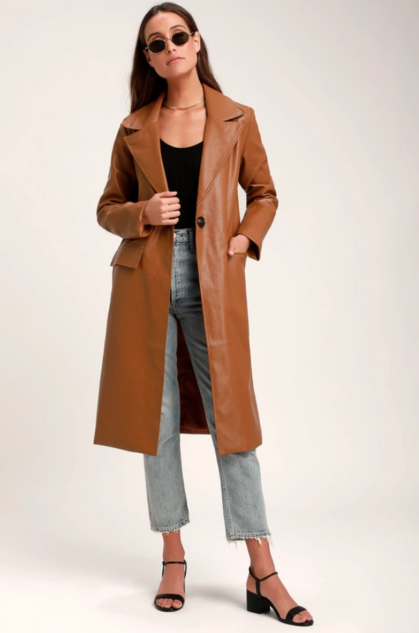 Lulus brown leather coat