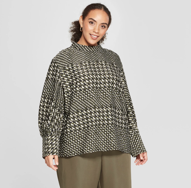 Who What Wear houndstooth plus size blouse