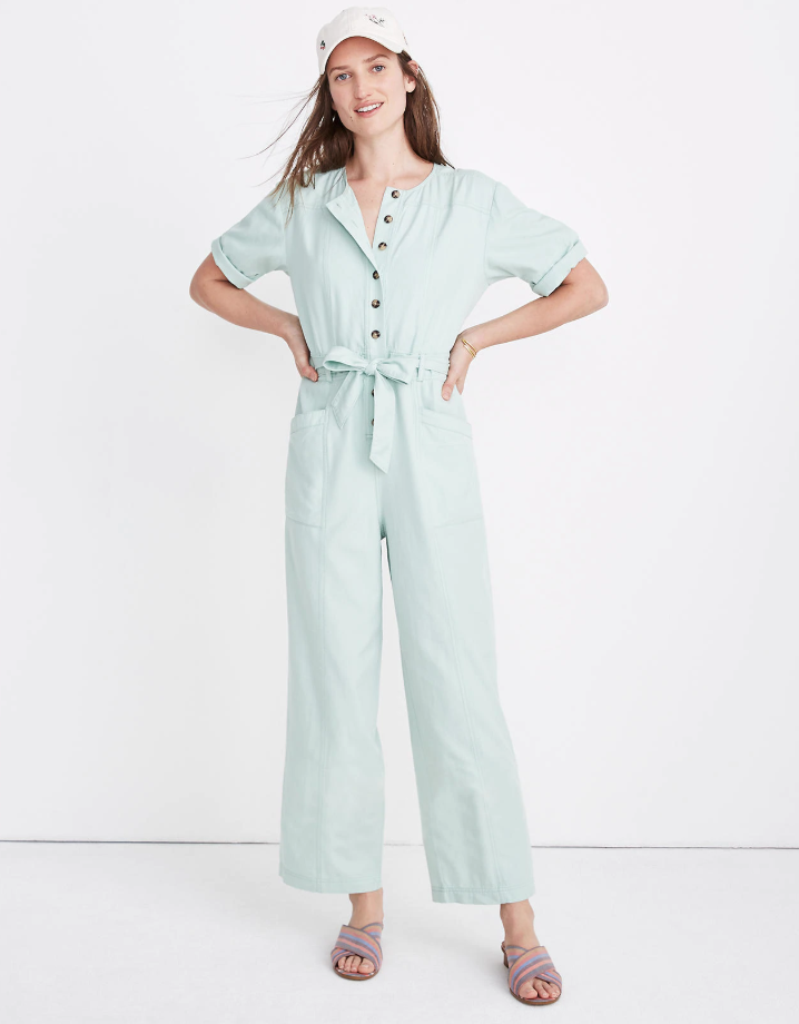 Madewell light blue coverall jumpsuit