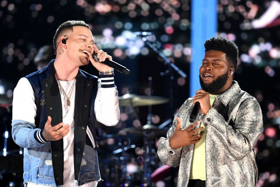 Kane Brown and Khalid perform onstage during the 54th Academy Of Country Music Awards on April 7