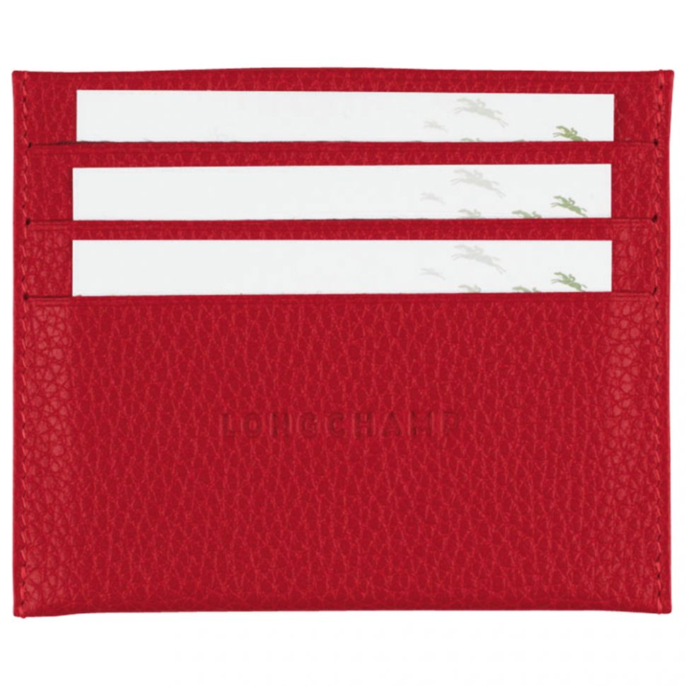 Longchamp red leather cardholder