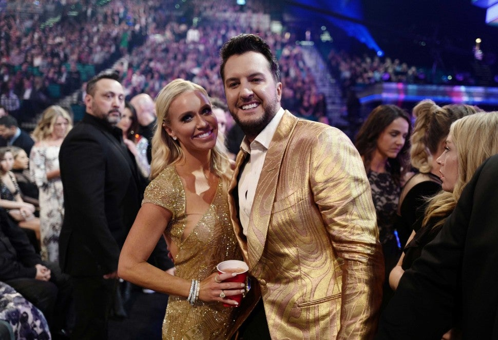 Caroline Boyer and Luke Bryan the 54th Academy Of Country Music Awards in Las Vegas on April 7