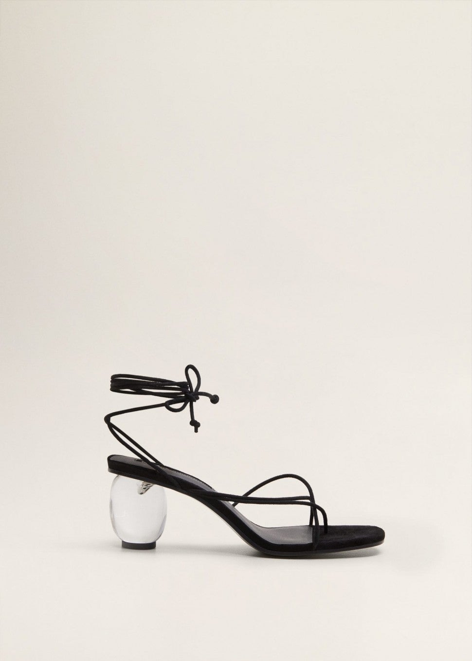 Mango black strappy sandal with lucite heel