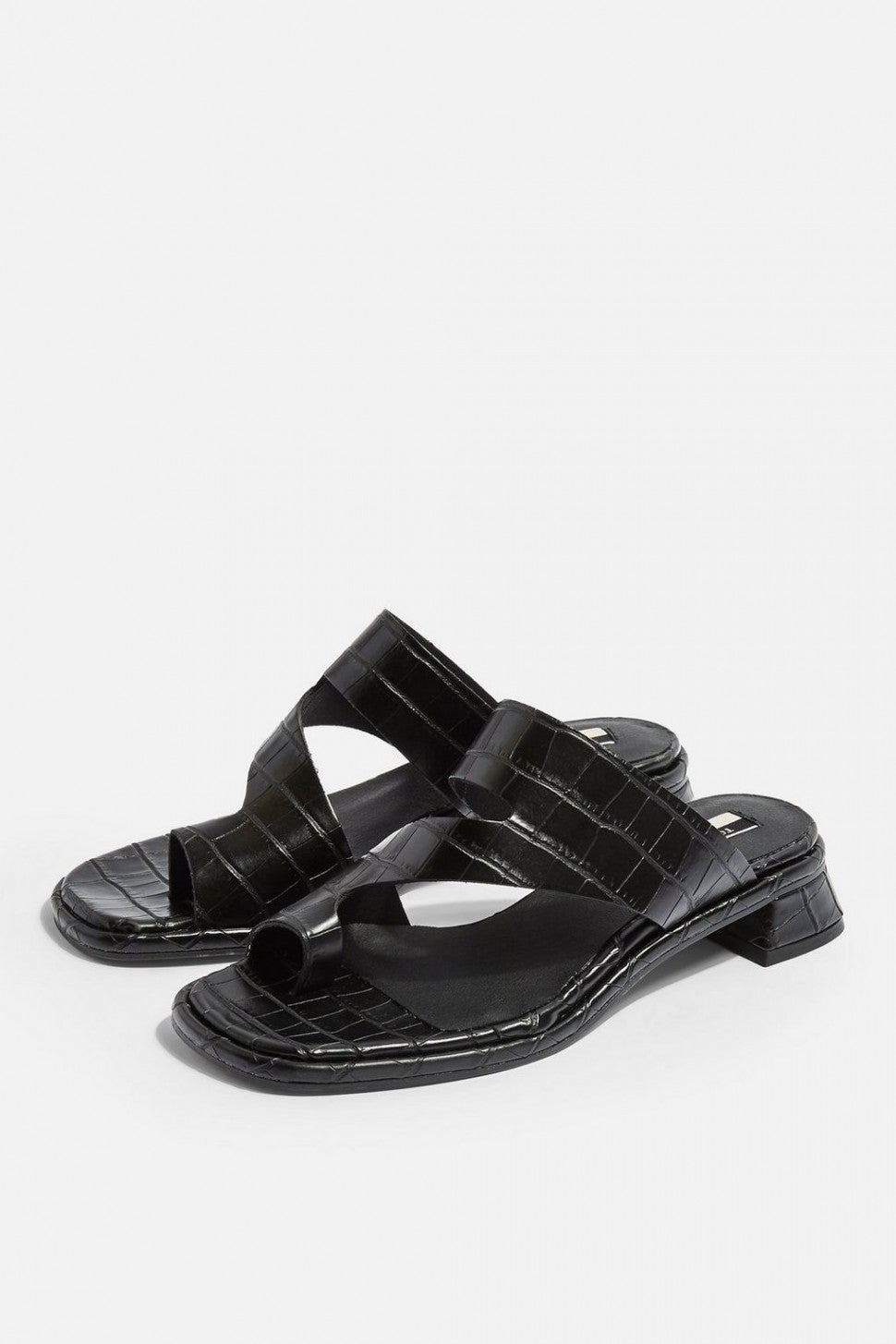 Topshop black croc toe loop sandals